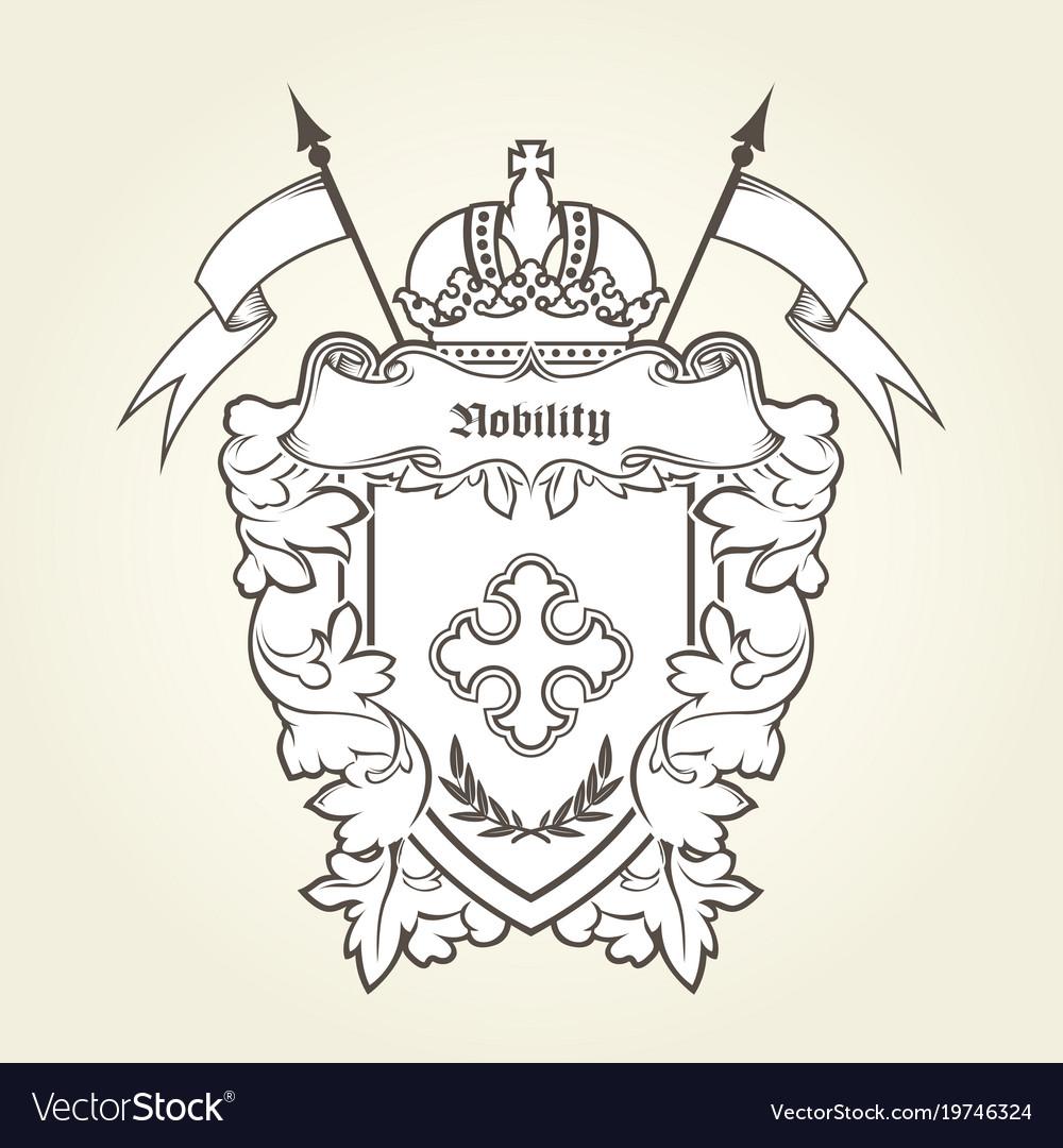 Heraldic emblem - royal coat of arms vector image