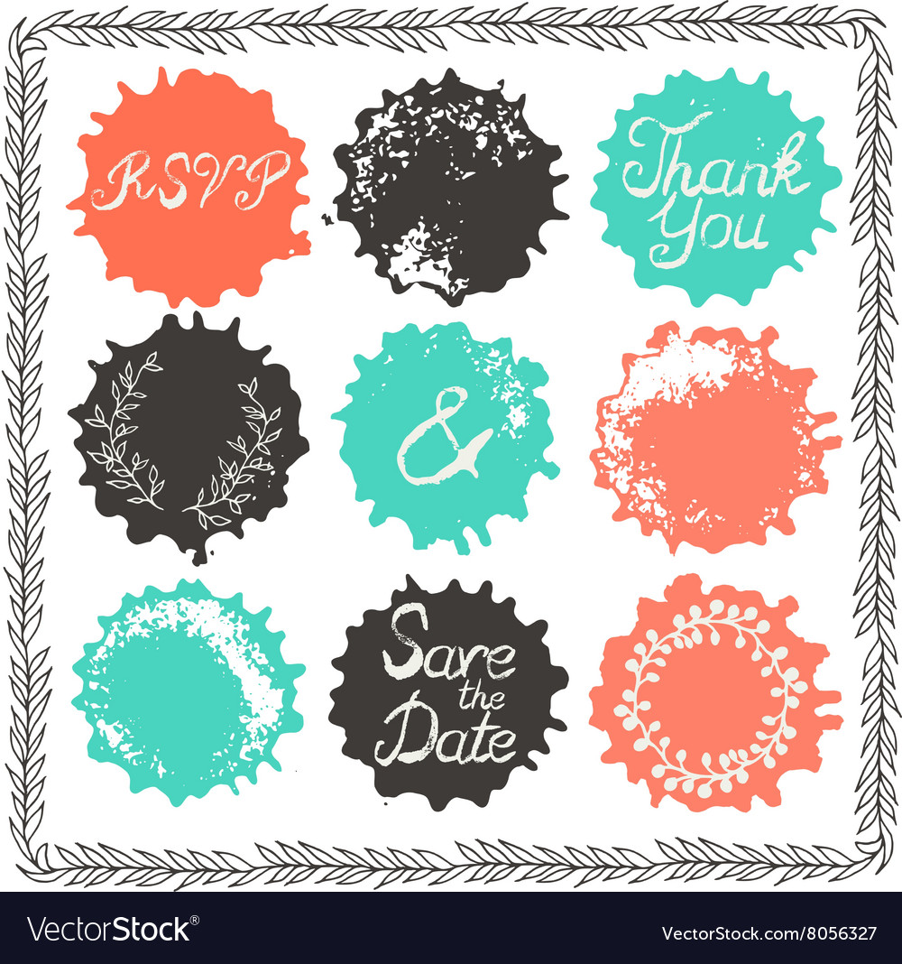 Set of 9 decorative wedding elements vector image