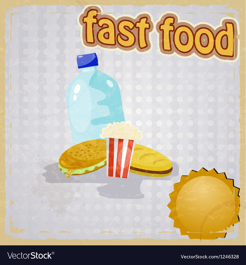 Retro background with the image of fast food vector image