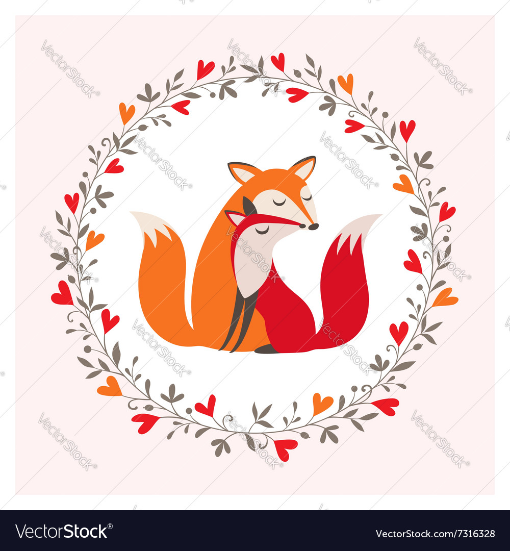 Fox couple vector image