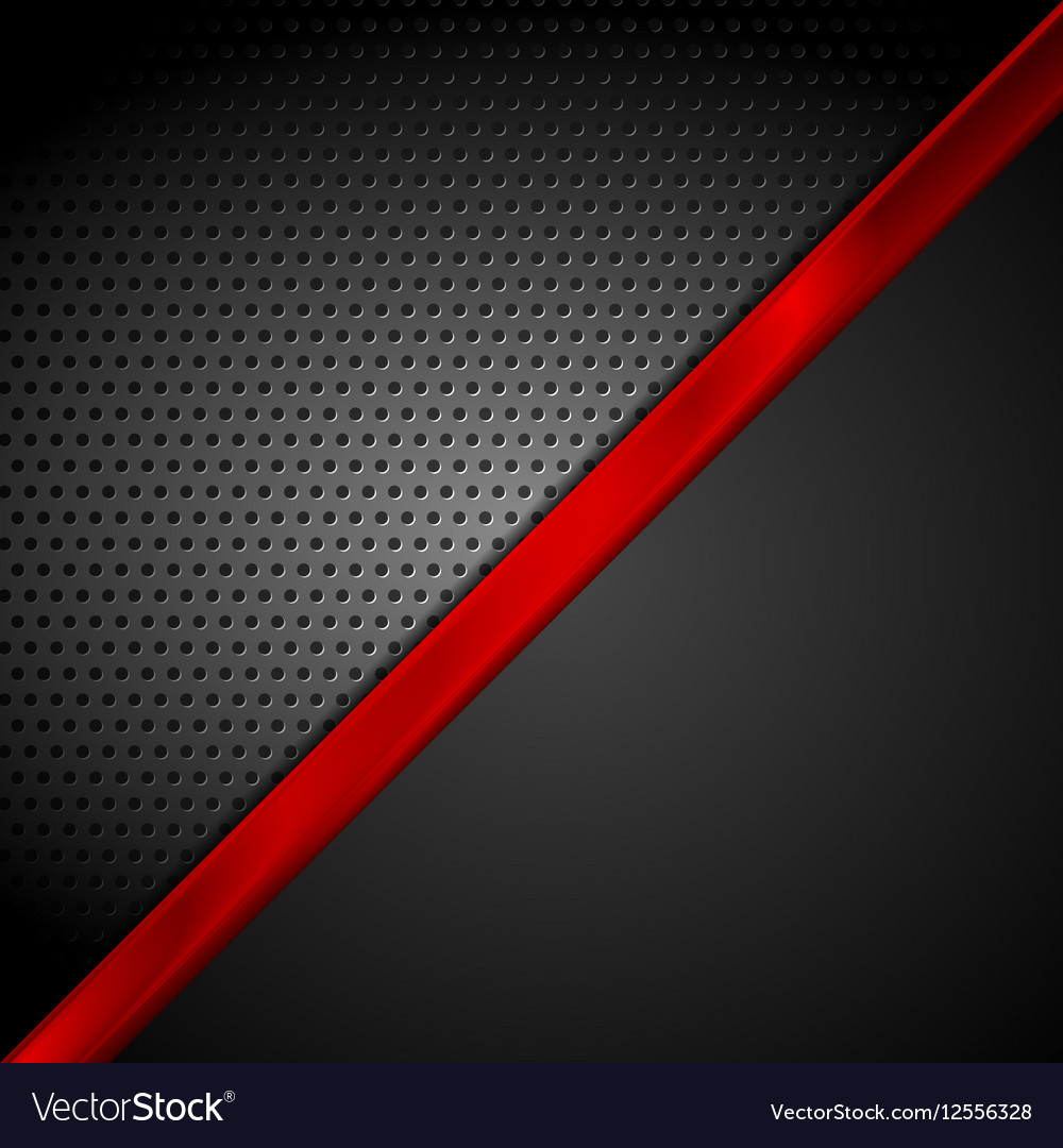Dark red black tech abstract background vector image