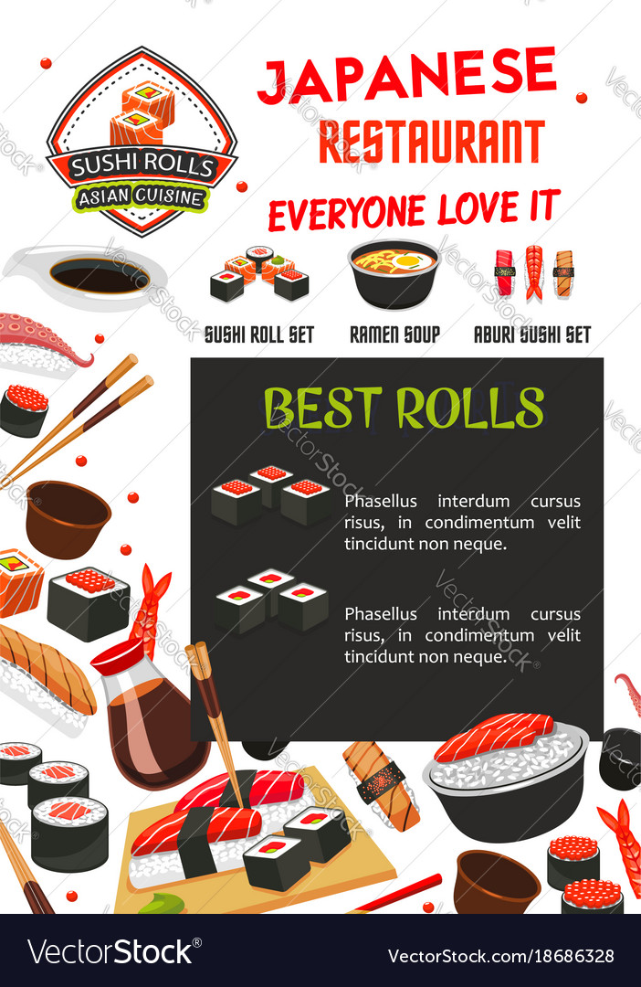 Sushi menu banner template of japanese restaurant vector image