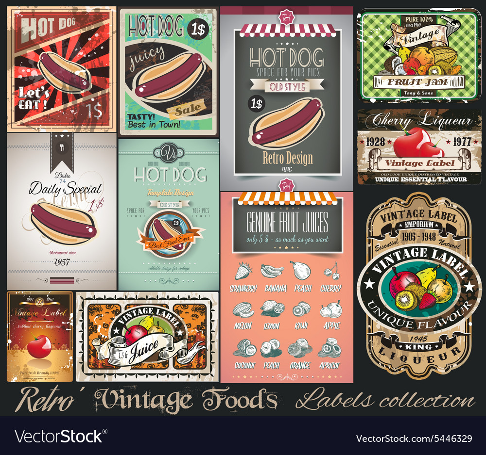 Retro Vintage Foods Labels collection Small vector image