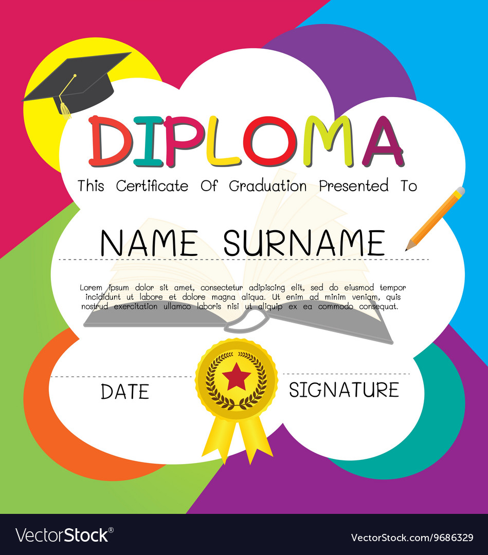 School and kid diploma certificate design template school and kid diploma certificate design template vector image alramifo Images