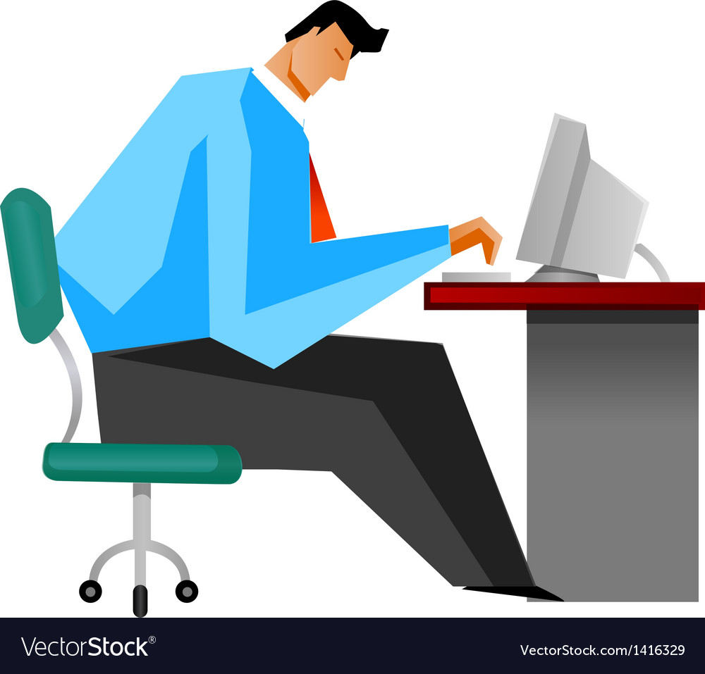 Man sitting in chair side - Side View Of Man Sitting By Computer Vector Image