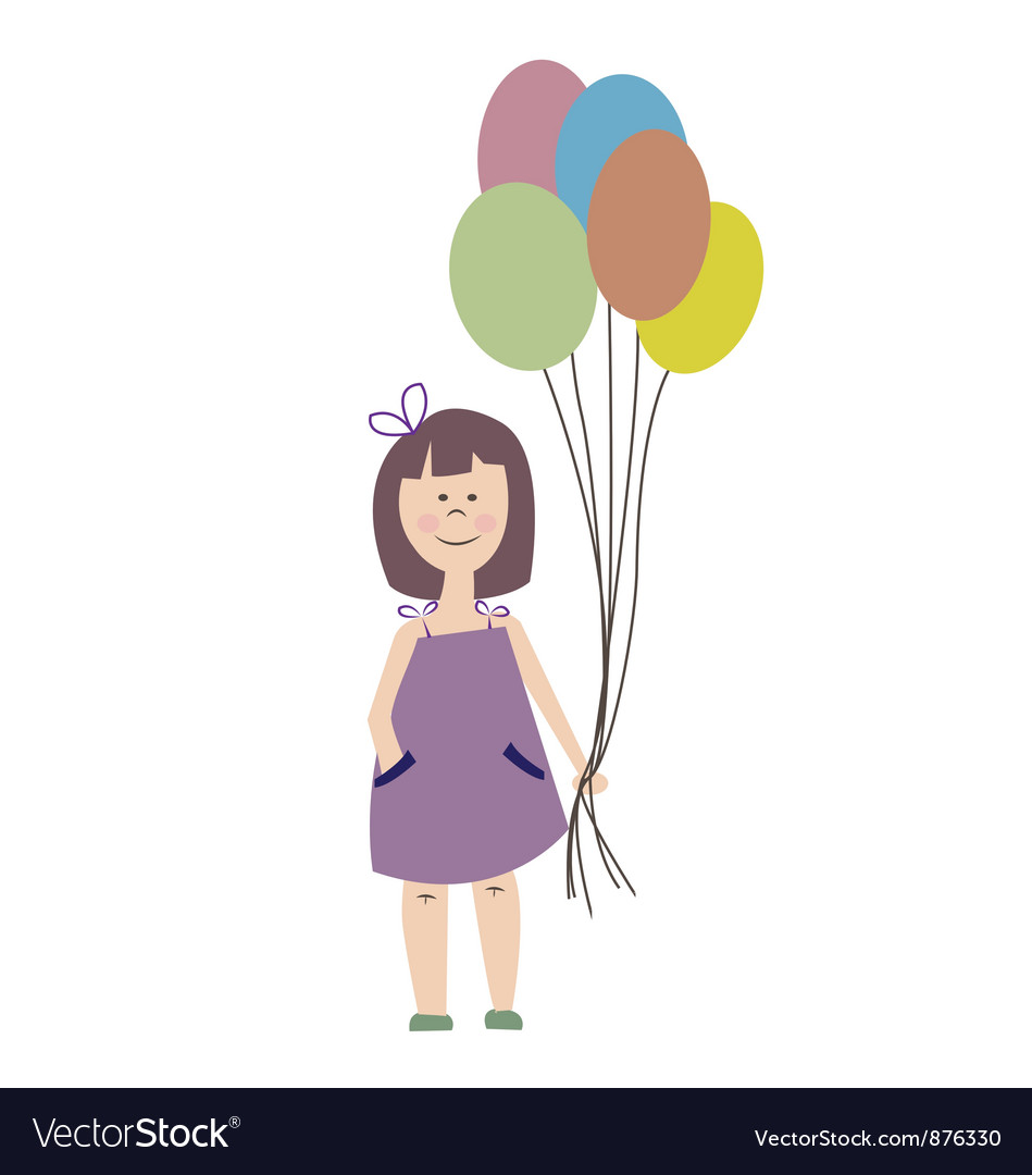 Cute Girl Holding Balloons vector image
