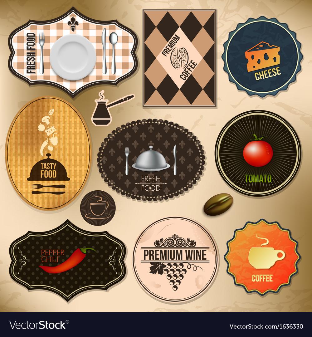 Food drink labels vector image