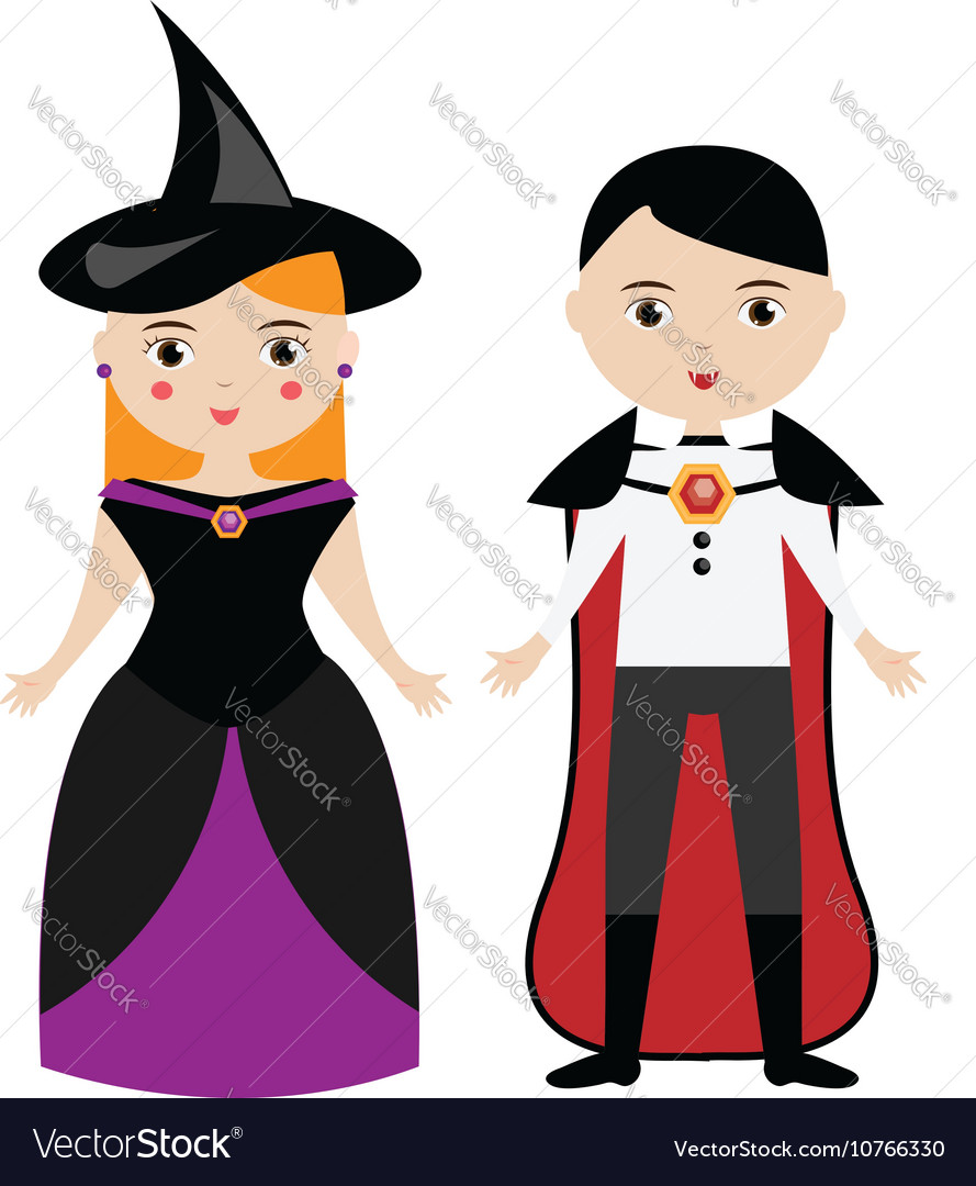 Halloween witch and vampire characters vector image
