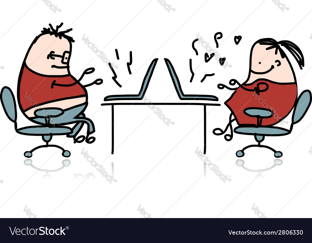 Peoples working at office cartoon for your design vector image
