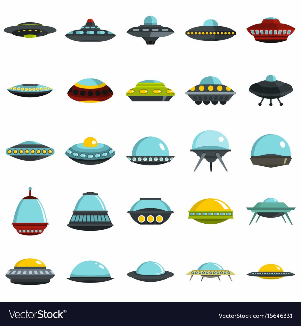 Alien spaceship spacecrafts and ufo set vector image