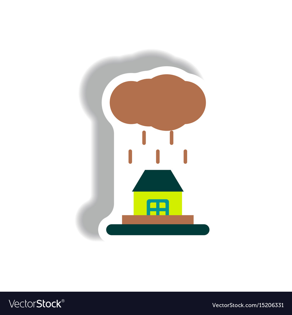 cloud with rain icon flat style