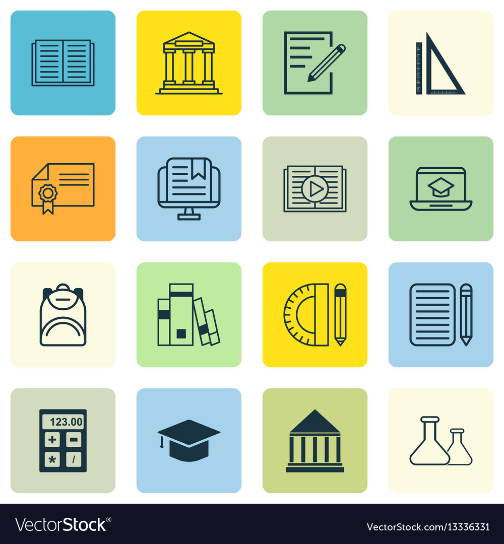 set of school icons includes library diploma vector image set of 16 school icons includes library diploma vector image