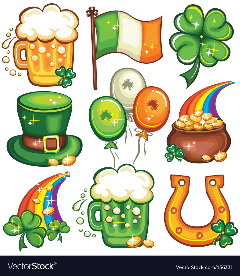 st patrick day icons royalty free vector image