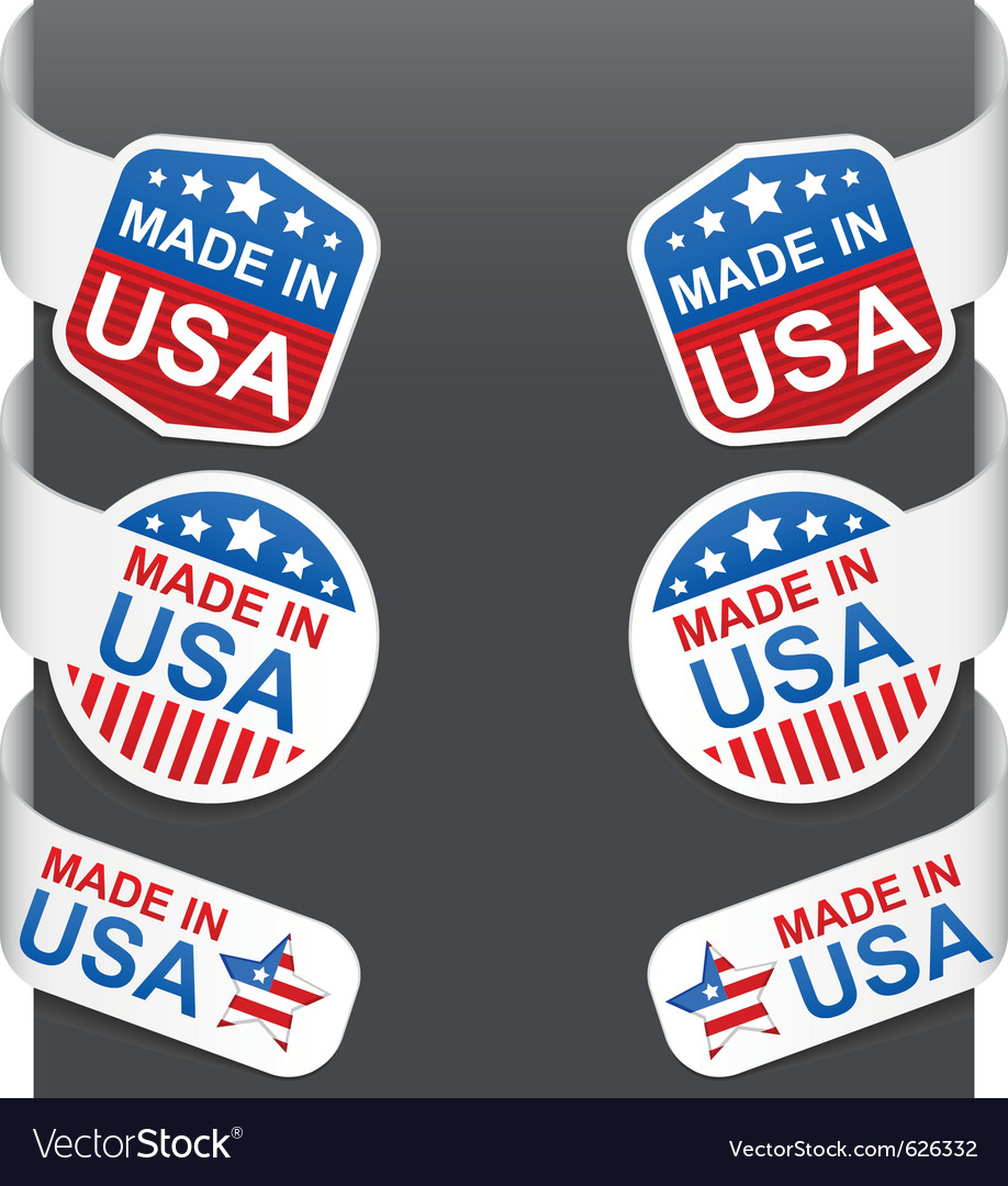 Left and right side signs made in usa vector image