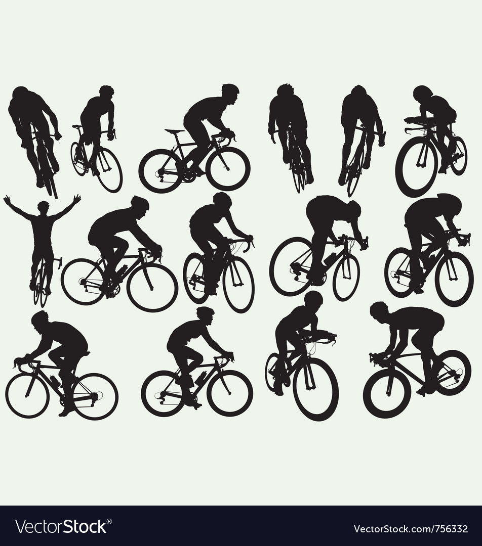 Road racing cycling silhouettes vector image