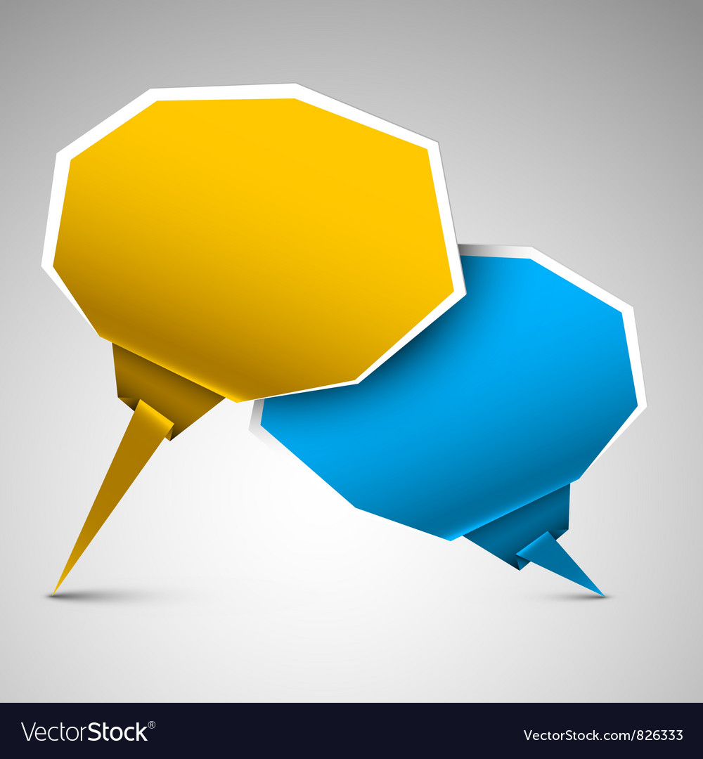 Paper bubbles yellow blue vector image