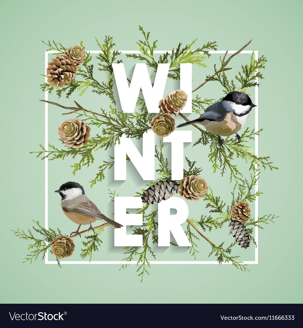 Winter Christmas Design in Winter Birds with Pines vector image