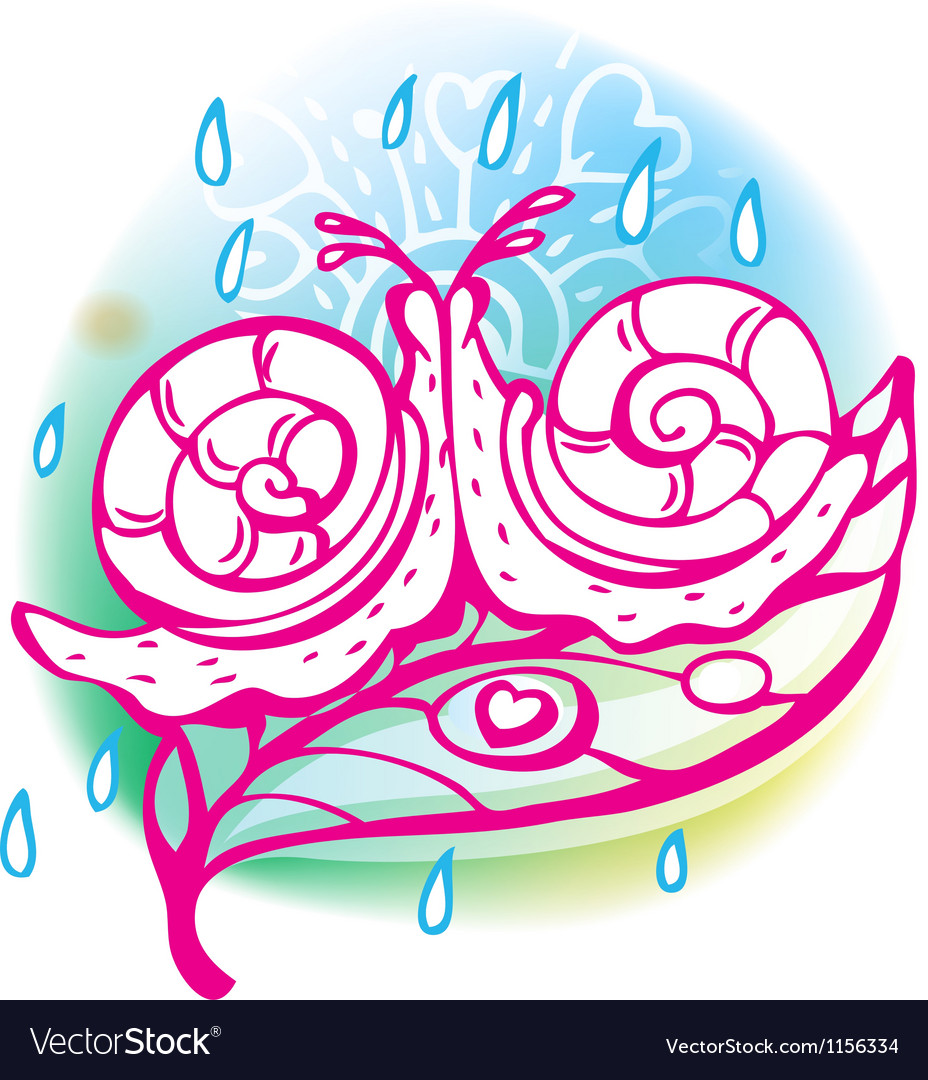 Love sketchy with snail vector image