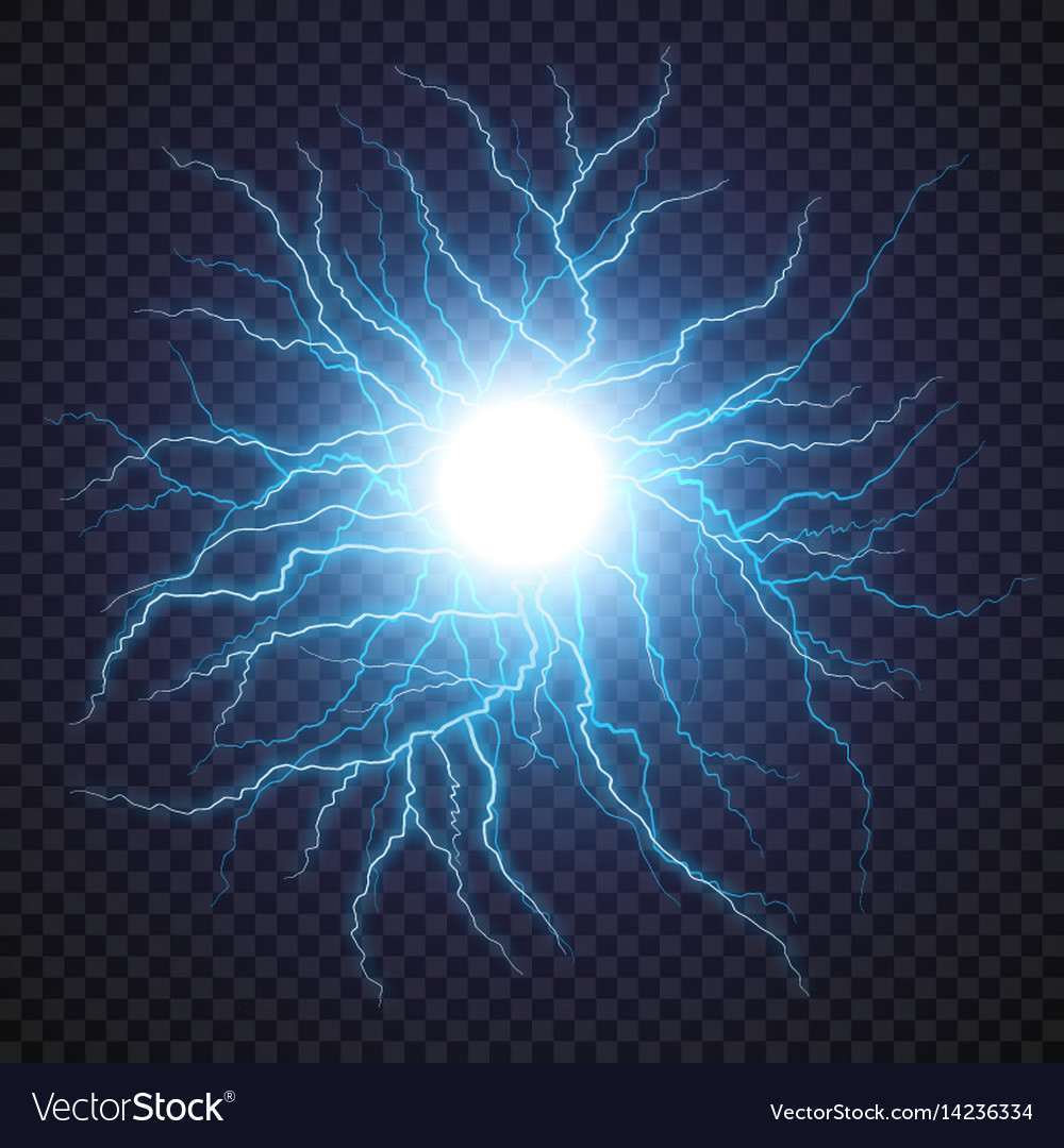 Lightning flash light thunder spark on transparent vector image