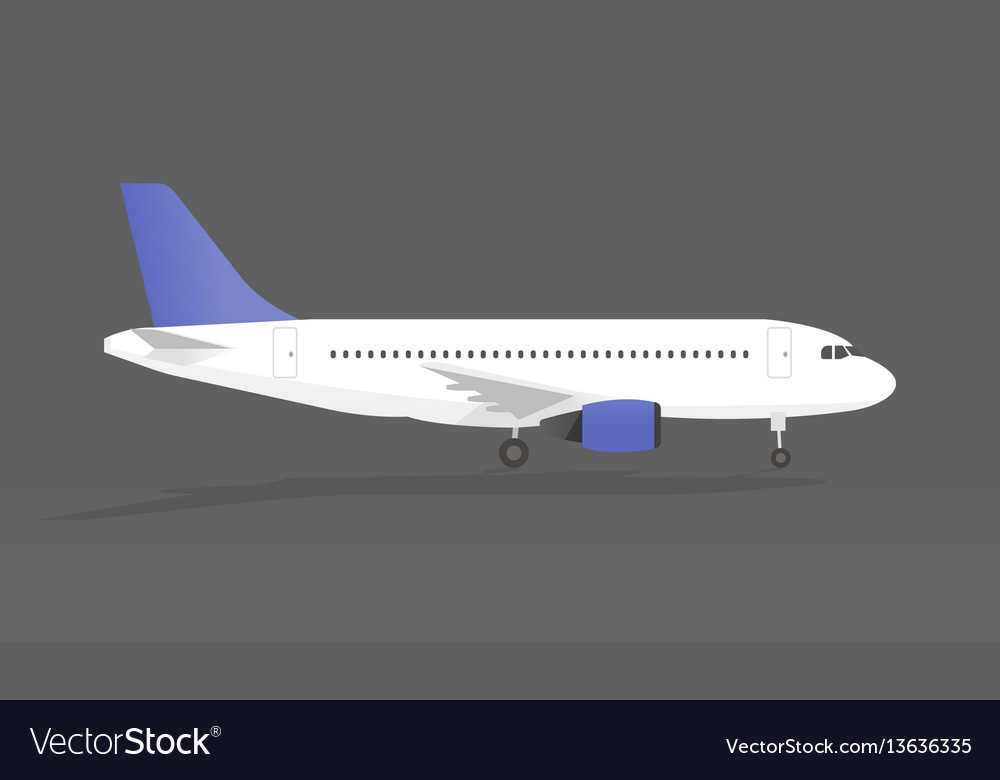 Airplane with shadow in gray backgroundi vector image