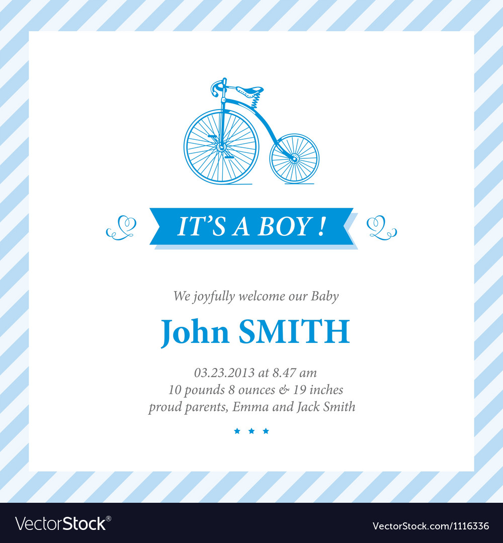 Baby announcement card It s boy vector image