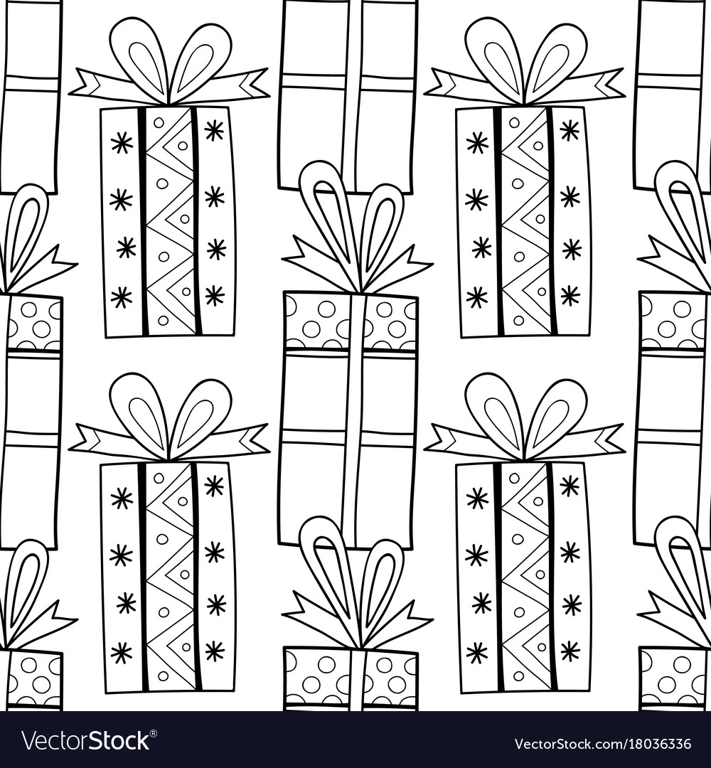 Gift boxes with decors ornaments for coloring Vector Image