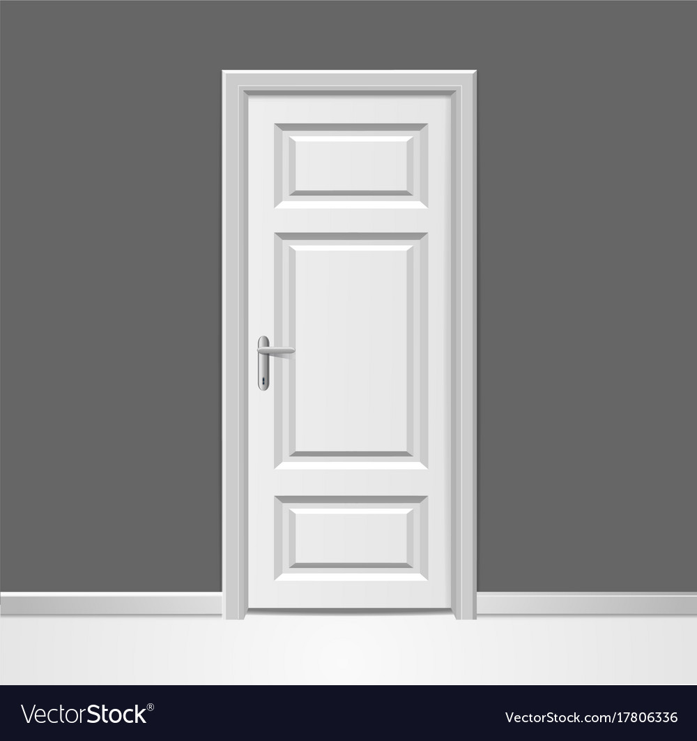 realistic 3d closed white wooden door with frame vector image - Door With Frame