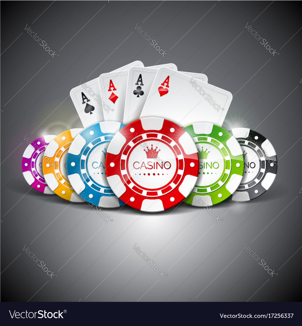 On a casino theme with color playing chips and vector image