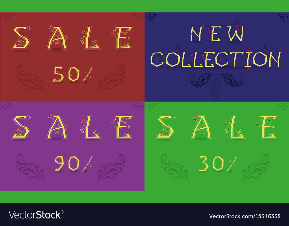 Cards with inscriptions for retail vector image
