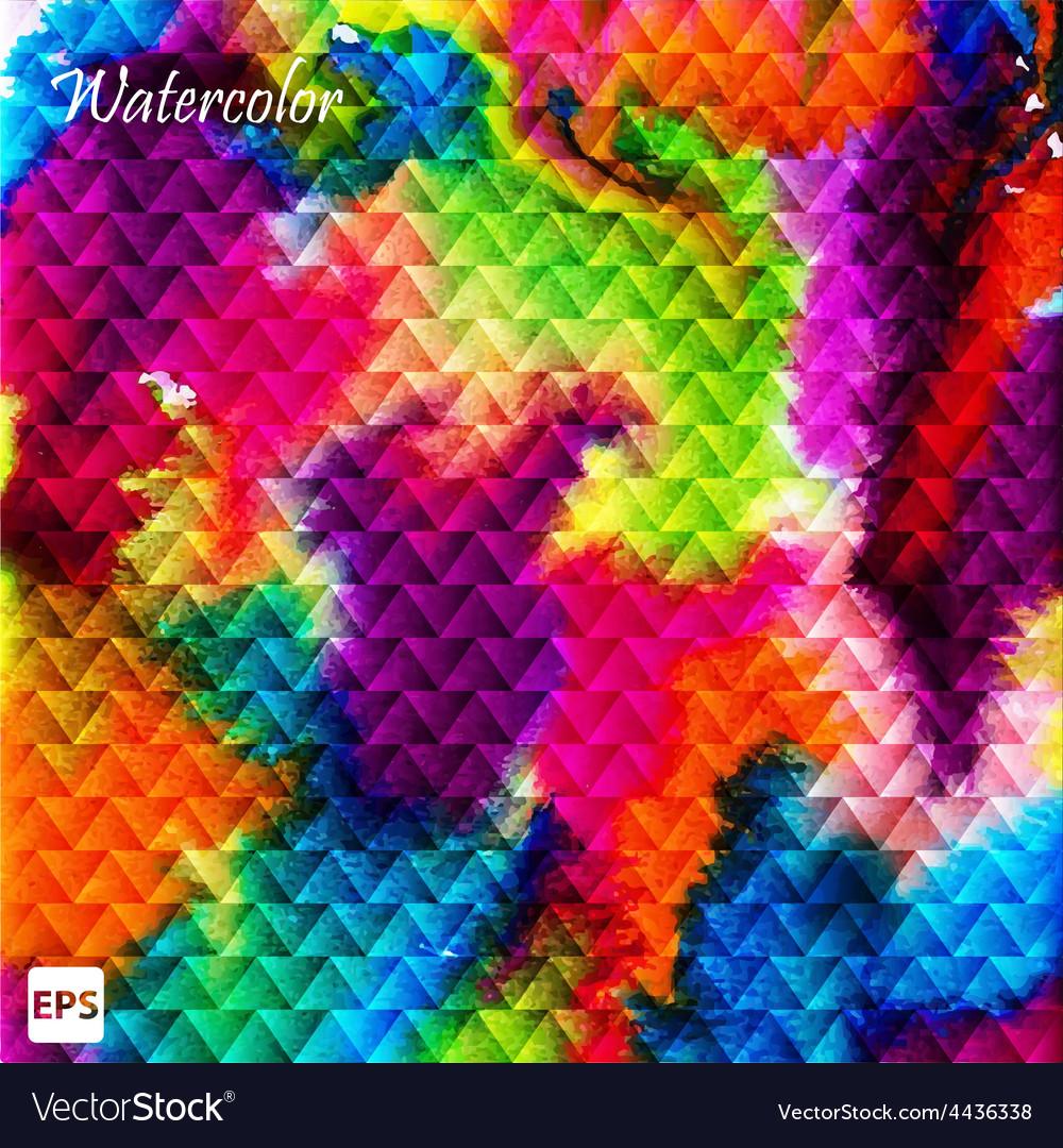 Watercolor triangle ornament Geometric aquarelle vector image