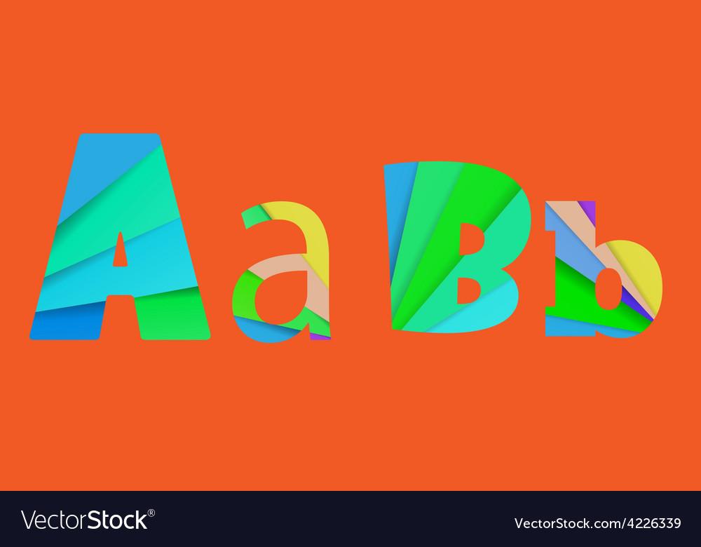 Inner shadow font AB Alphabet design full color vector image