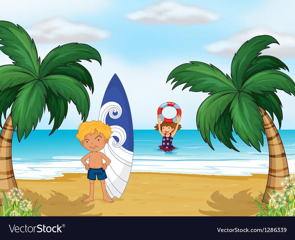 Kids enjoying summer at the beach vector image