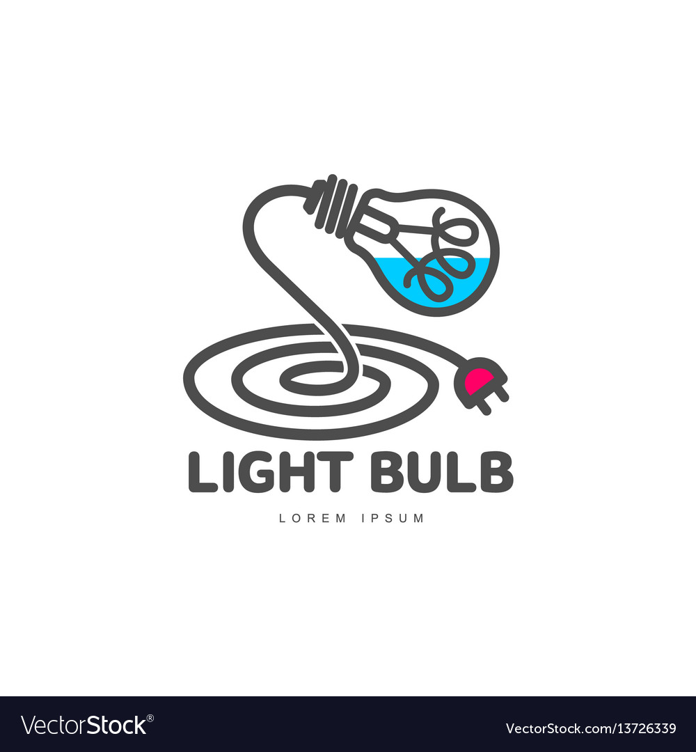 Logo with light bulb and power cable forming table vector image