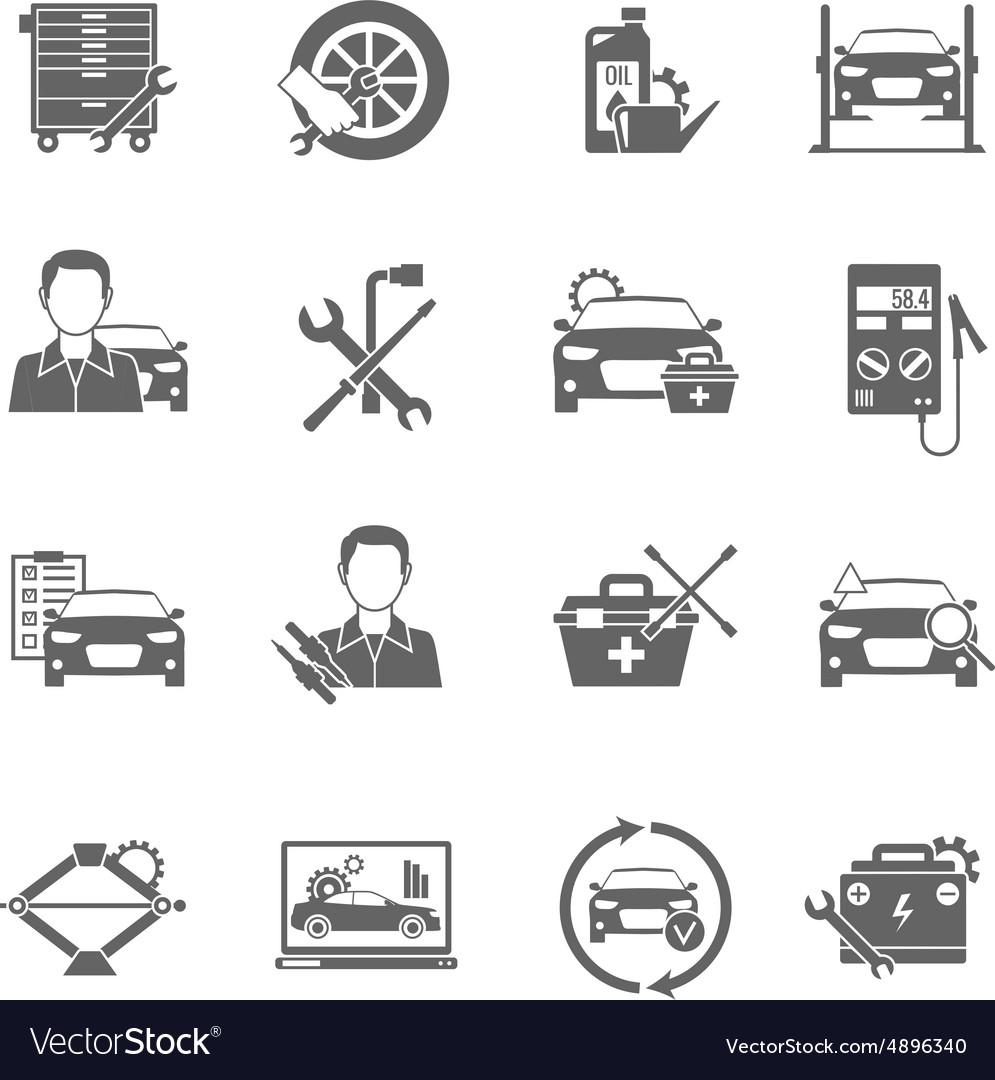 Auto Mechanic Icons Set vector image