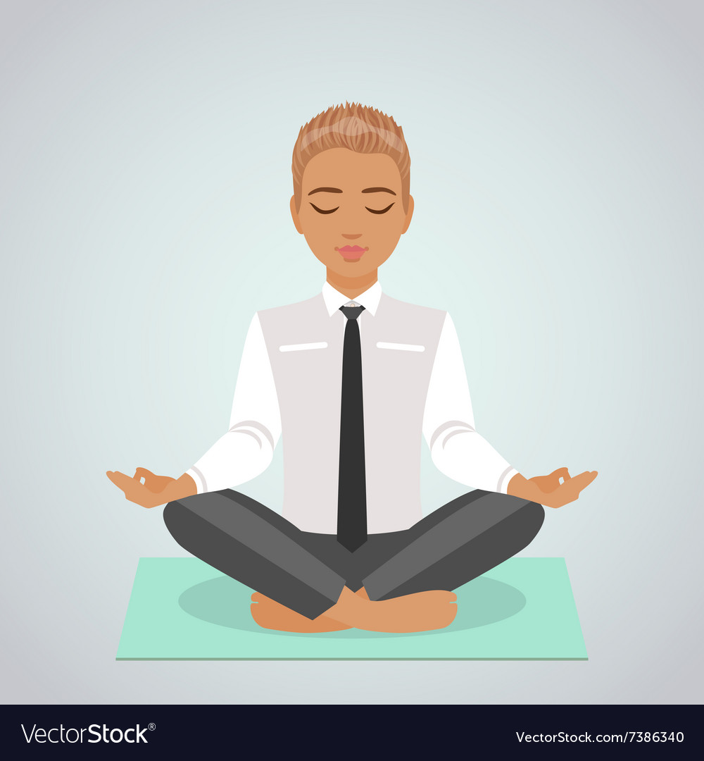cartoon man doing yoga