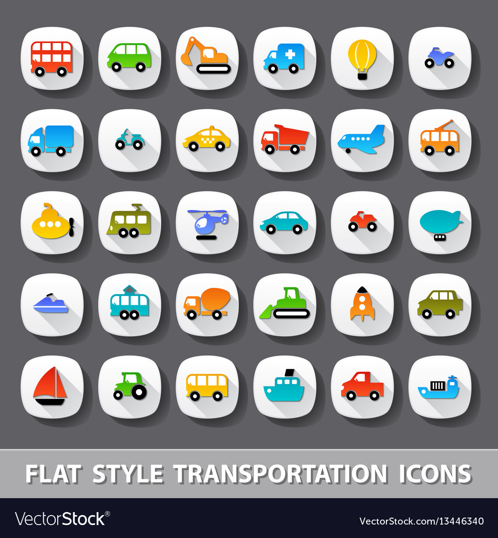 Flat style transportation icons vector image