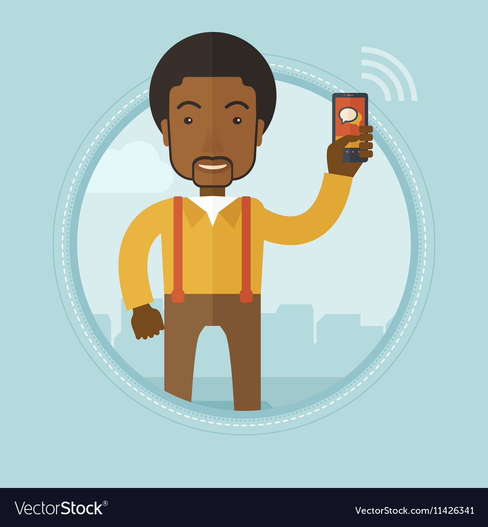 Businessman using mobile phone vector image