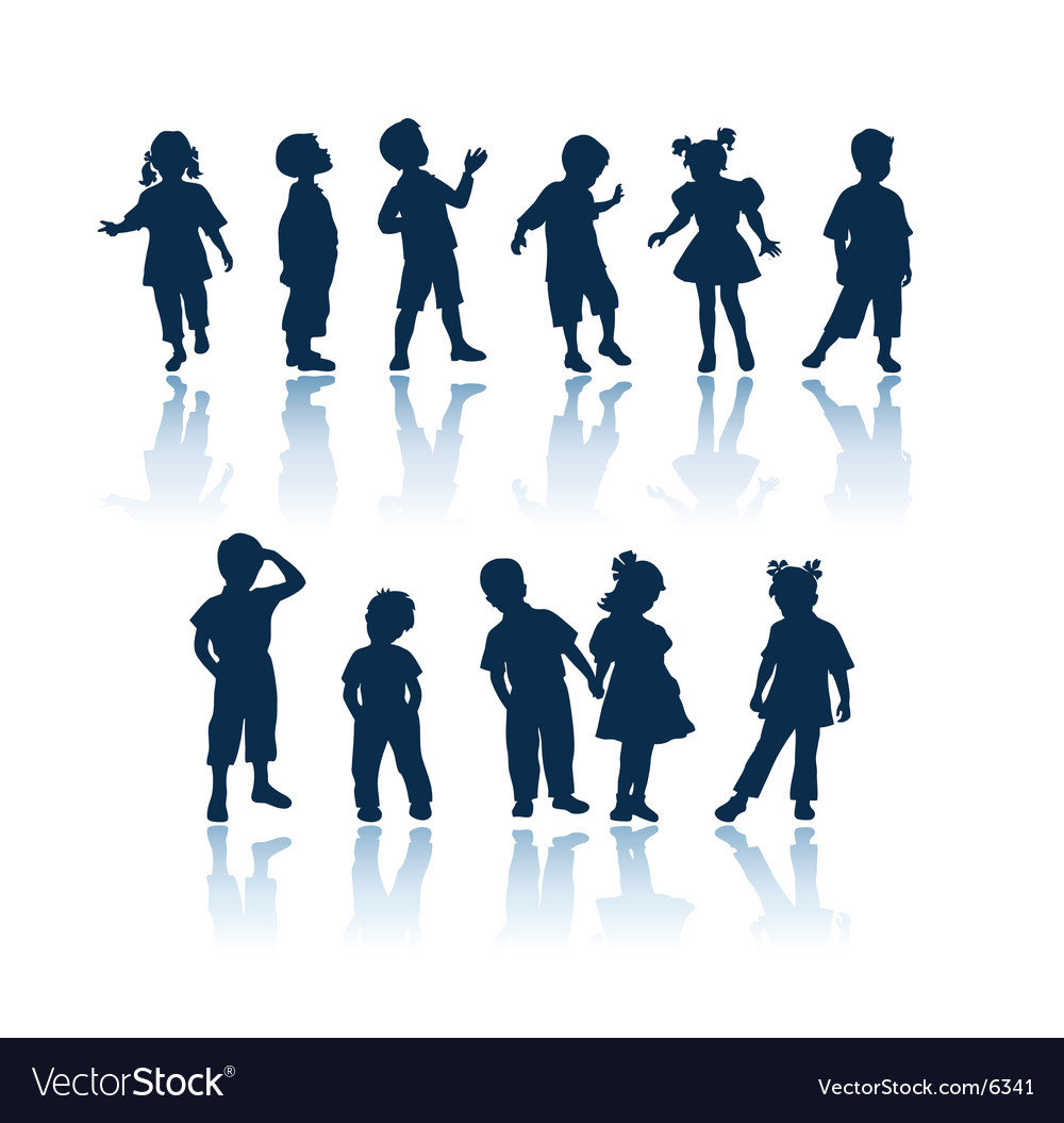 Kids silhouettes vector image