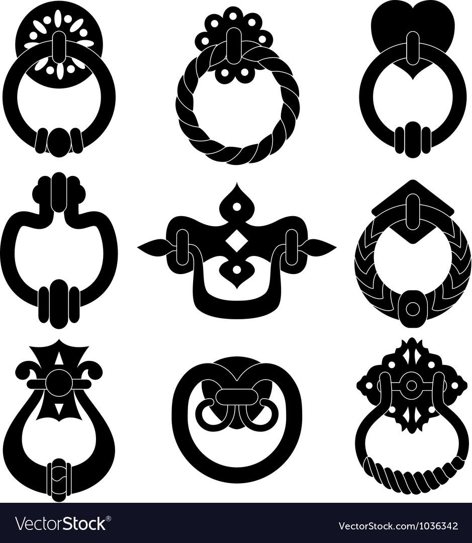 Door handle silhouettes vector image