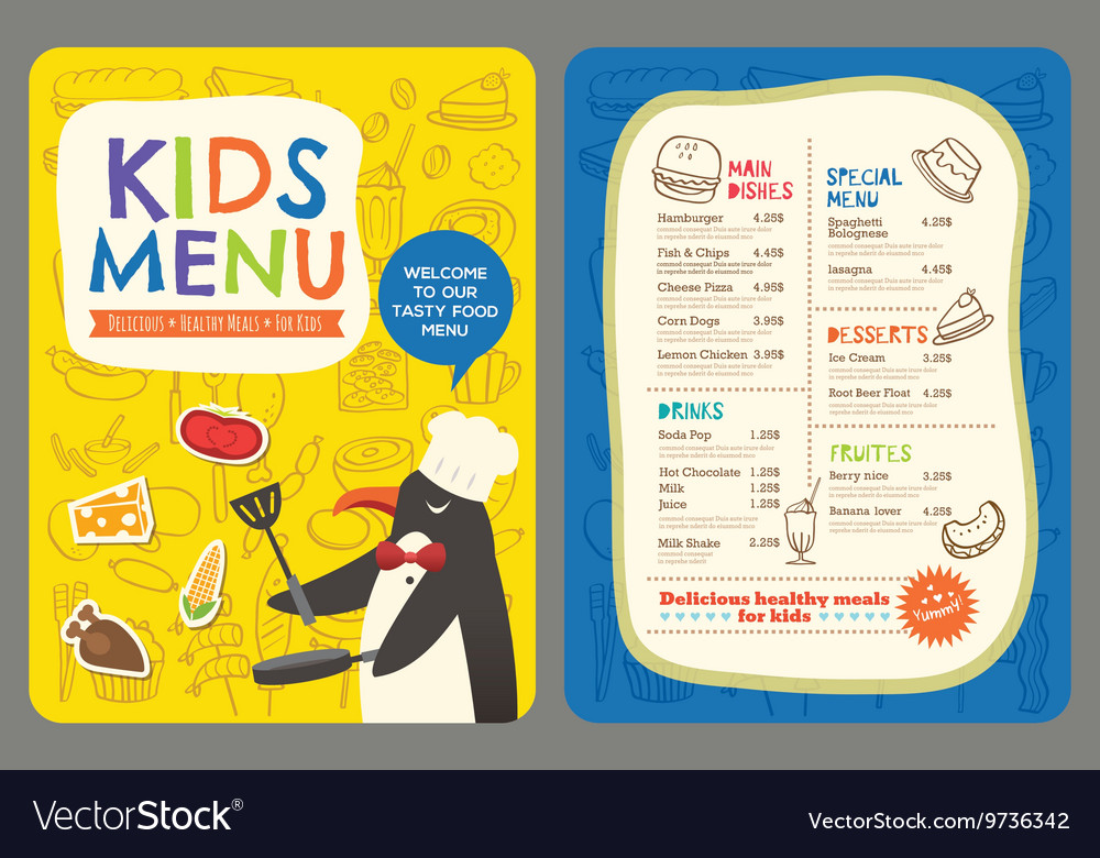 Cute colorful kids meal restaurant menu template Royalty Free – Free Kids Menu Templates