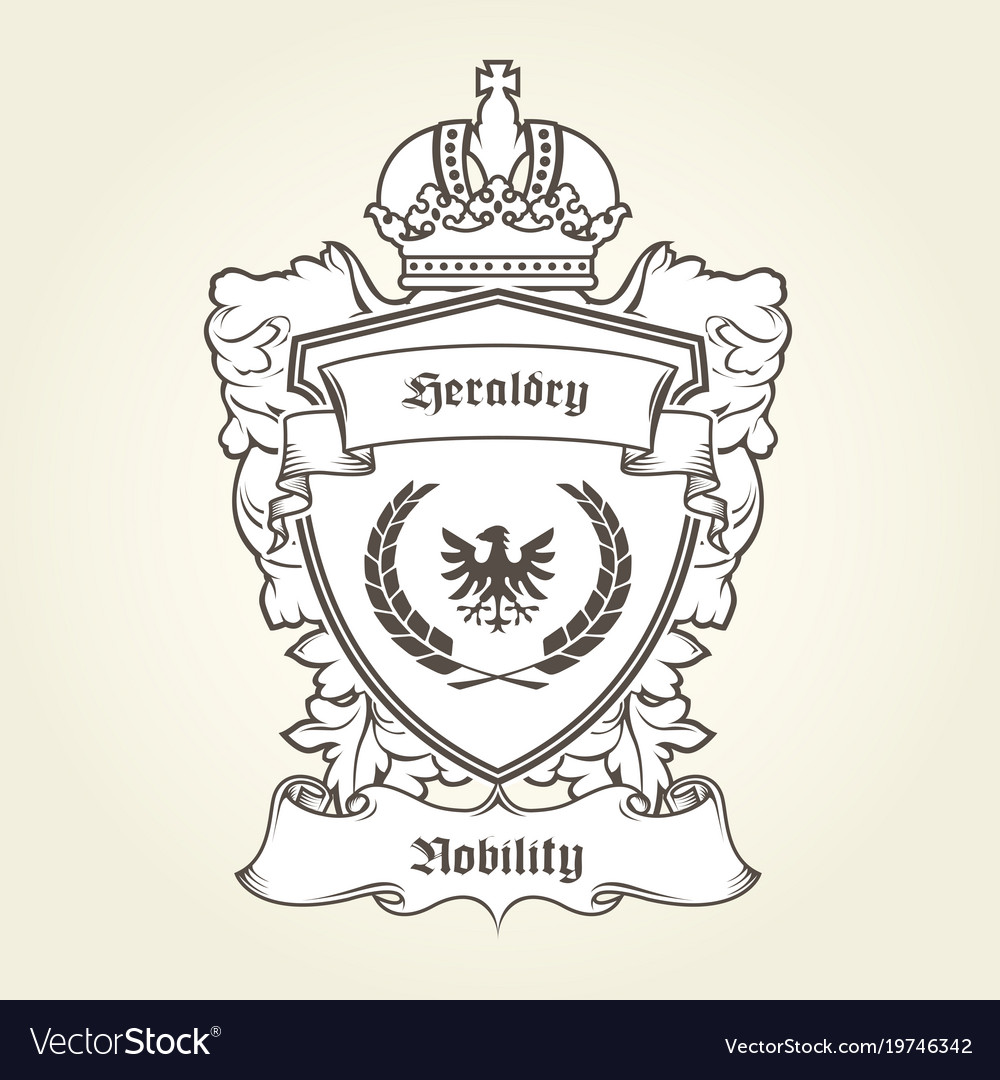 Coat of arms template with heraldic eagle shield vector image