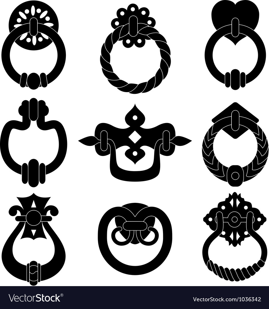 Door handle silhouettes vector image