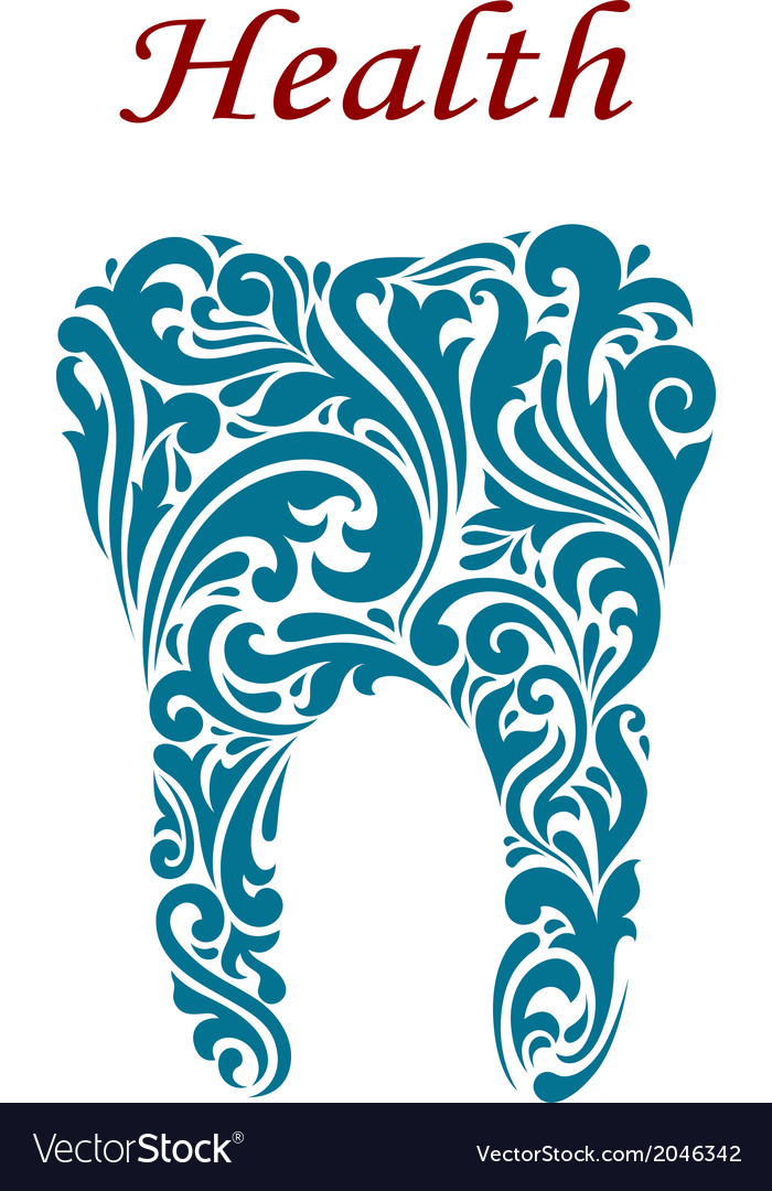 Tooth in floral style vector image