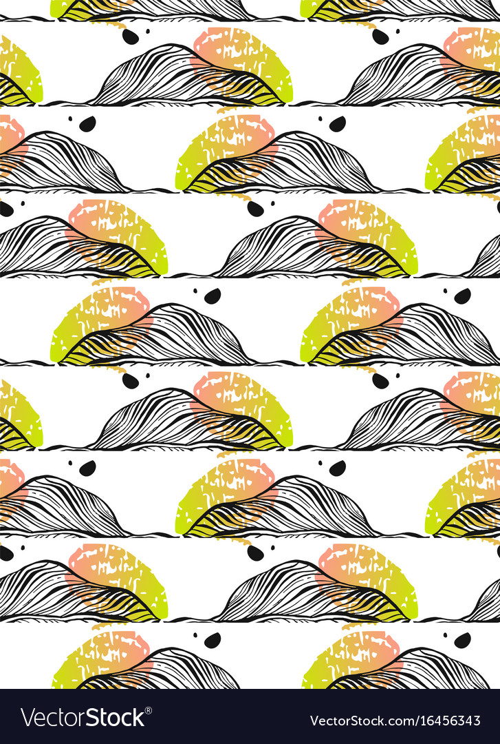 Autumn seamless pattern with leaf abstract vector image