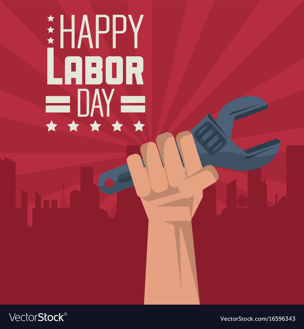 Colorful poster of happy labor day with red vector image