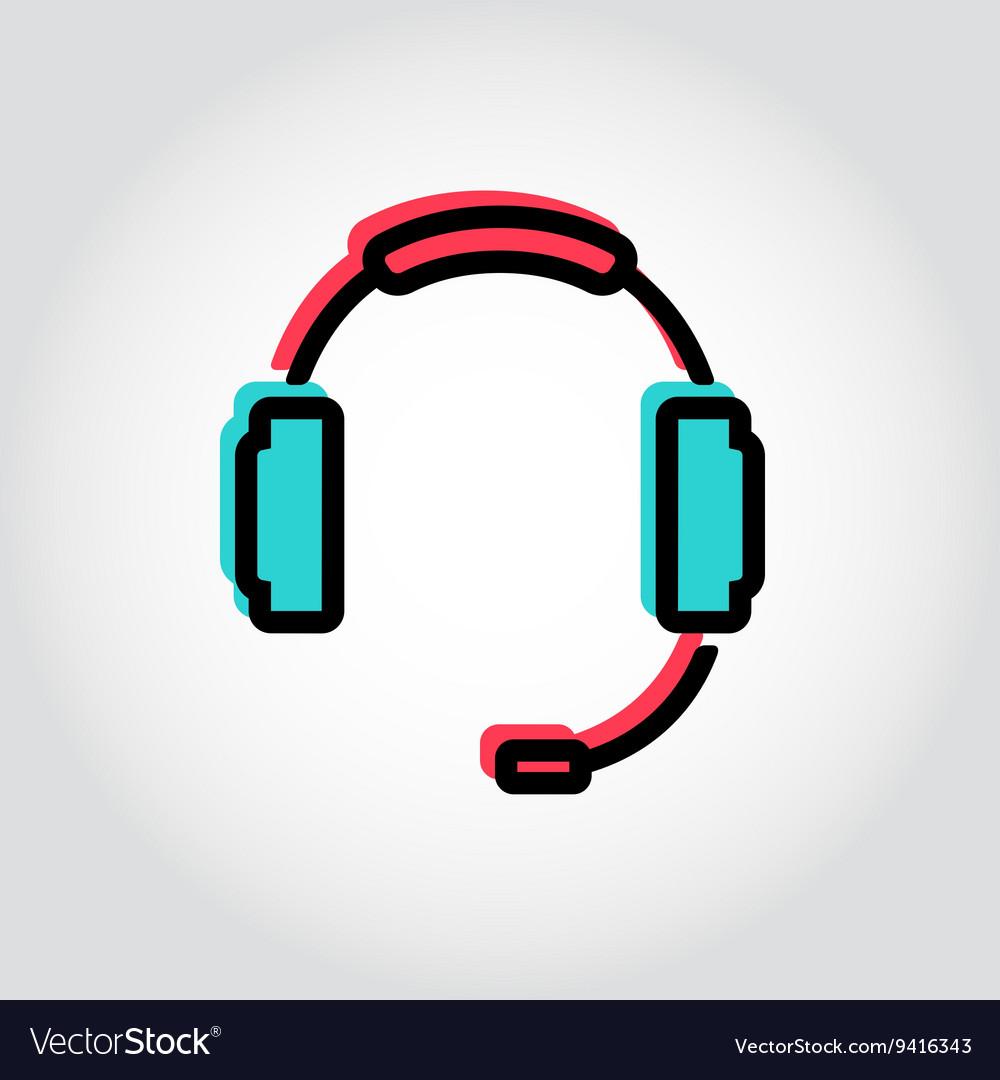 Flat line headset icon vector image
