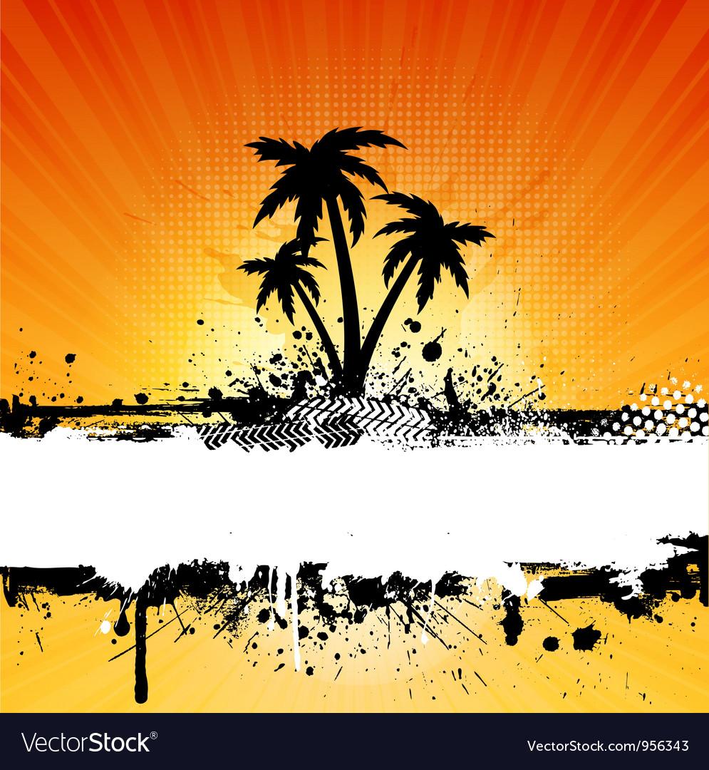 Grunge palm vector image