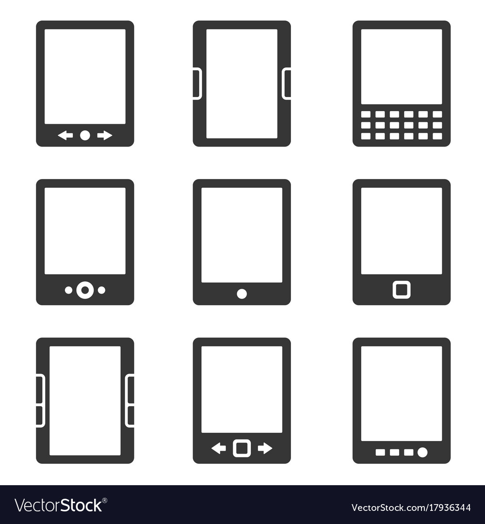 Electronic book reader icons set vector image