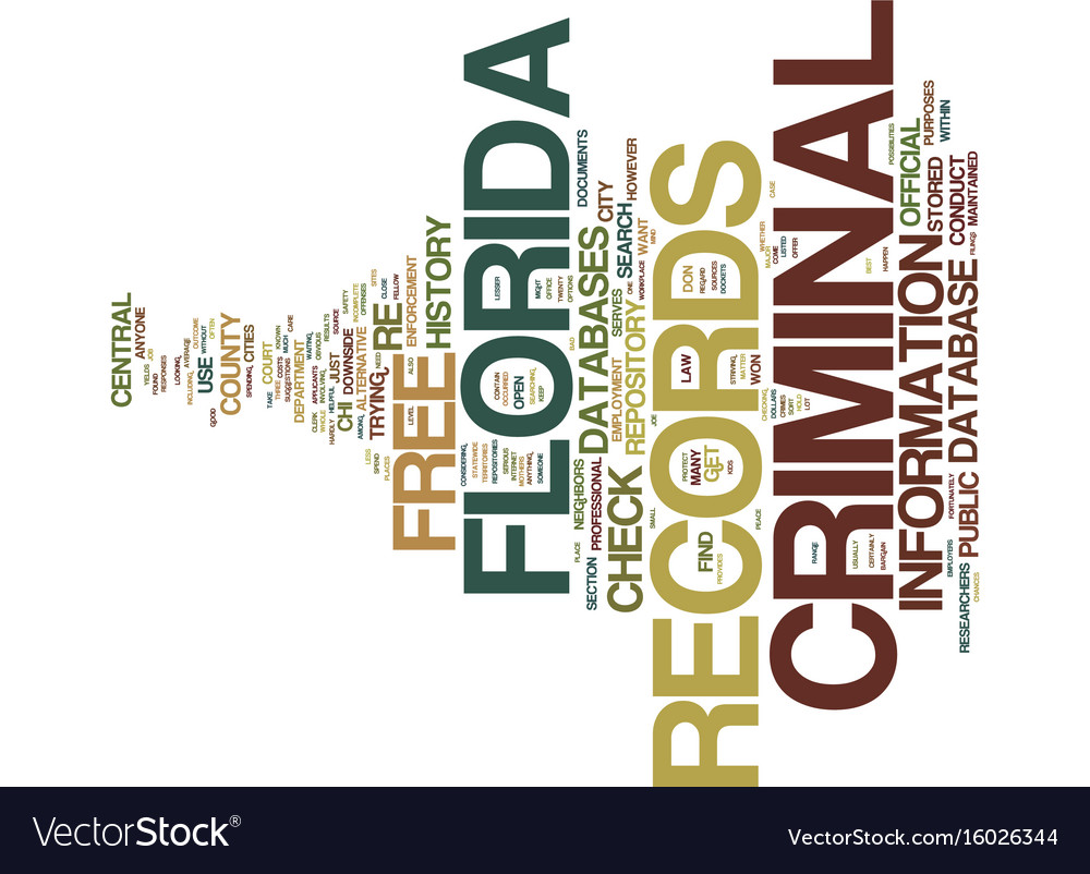 Free florida criminal records text background vector image