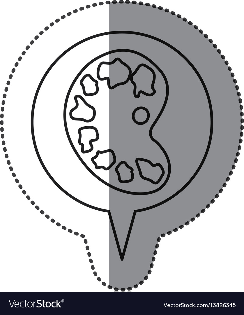 Monochrome contour sticker with art palette icon vector image